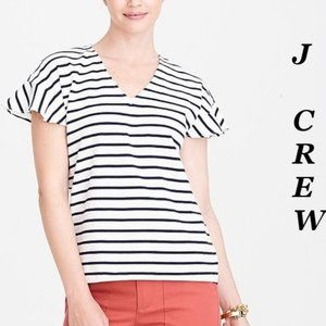❤️ J Crew Top White & Blue Strip Flutter Sleeve XS